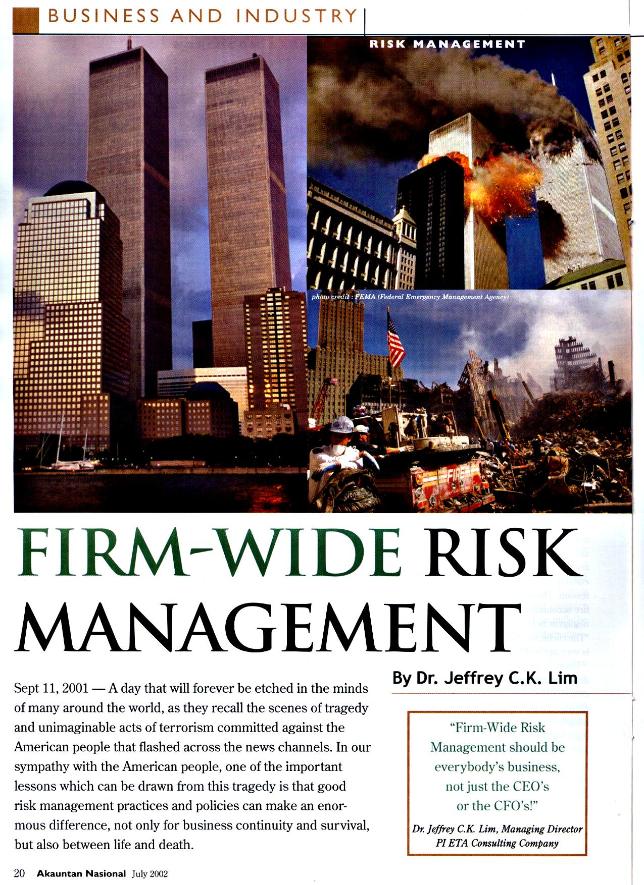 Firm-Wide Risk Management (Part I)